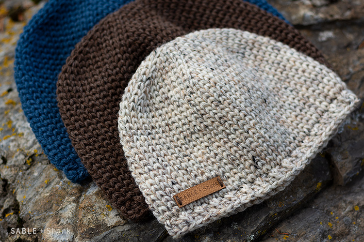This easy knit-look crochet hat pattern comes in 8 sizes to fit all the men and boys you know.